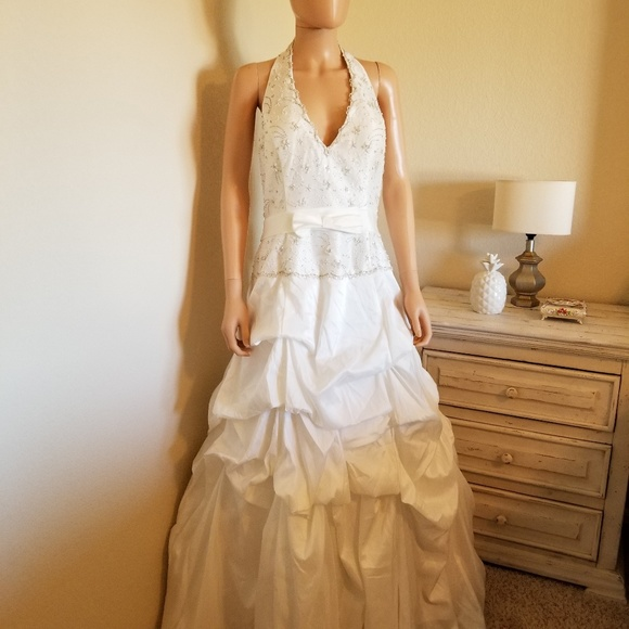 Jessica designs int\'l Dresses | Nwt Ivory Halter Wedding Gown | Poshmark